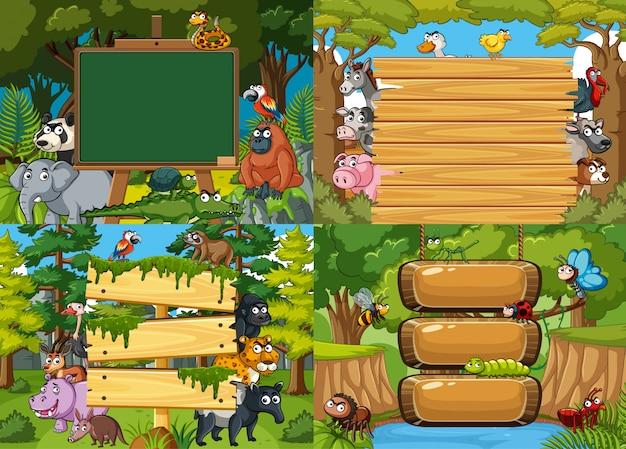 空のボードとジャングルの動物、ゲームの4つのテンプレート