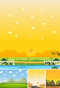 自然の4つの異なるシーンは、昼間と日没で垂直および水平線シーンに配置します