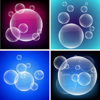カラフルな背景に泡の4つの異なる背景