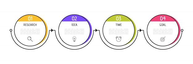 ビジネスインフォグラフィックテンプレート。番号4のオプションまたは手順を持つカラフルな円形要素。