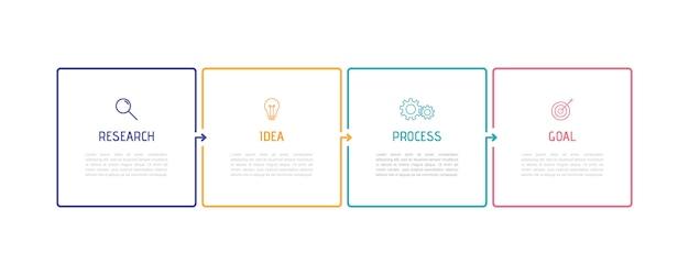 ビジネスプロセスインフォグラフィックテンプレート。番号4のオプションまたはステップを備えた細い線のデザイン。