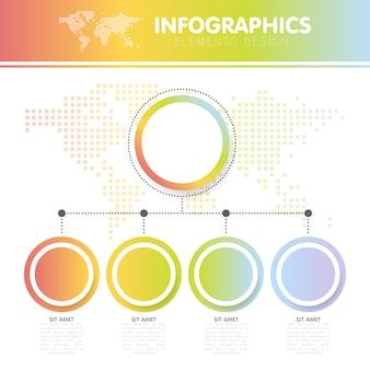手順と4つの円で点線の世界地図とインフォグラフィックのベクターイラスト