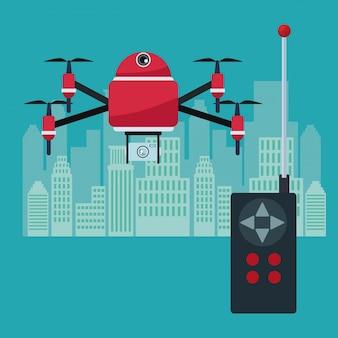 4つの飛行機飛行機とカメラ装置を備えたロボットドローン