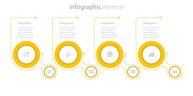 4ステップラインインフォグラフィックビジネス要素