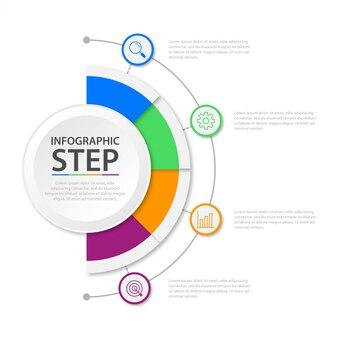 Шаблон презентации бизнес инфографики с 4 вариантами
