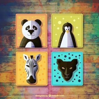 水彩画の動物と4バッジのセット