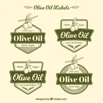 4緑色のオリーブオイルのラベルのパック