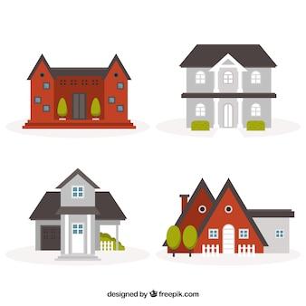 フラットなデザインの4つのかわいい家
