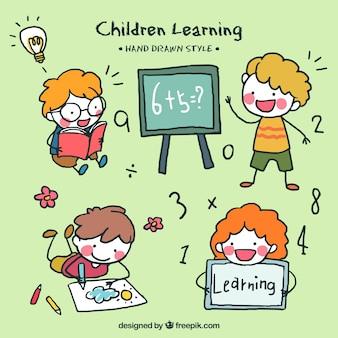 4手描き子供のコレクション学習