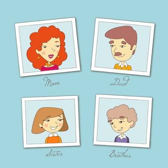 4つの家族の写真を木製の背景