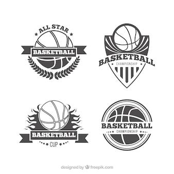 4つのレトロバスケットボールのロゴのパック