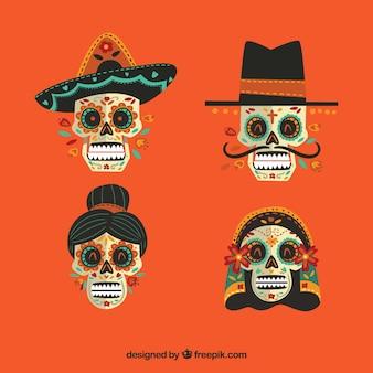 4個のメキシコの頭蓋骨のパック