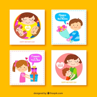 母の日のための4つのかわいいグリーティングカードのセット