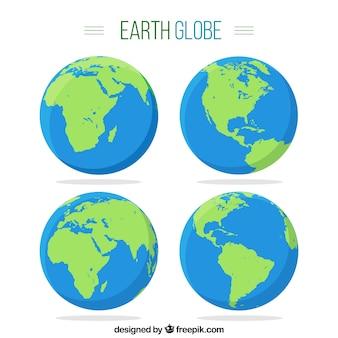 4つの地球地球儀のパック