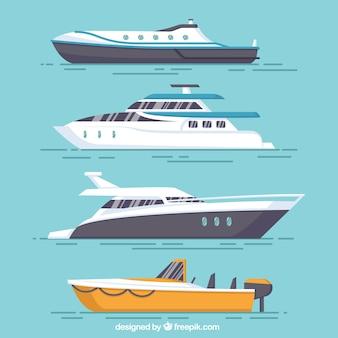 4つの平らなボートの品揃え