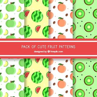 4つのフラットフルーツパターンのセット