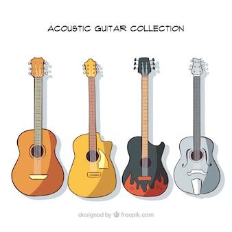 4つの手描きアコースティックギターのパック