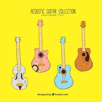手描きのスタイルで4色のアコースティックギターの品揃え