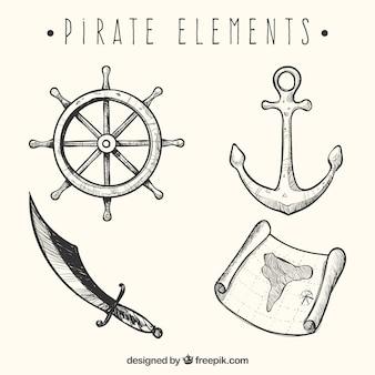 4つの海賊要素を描いた手のセット