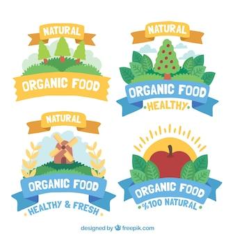 4色の有機食品シールのセット