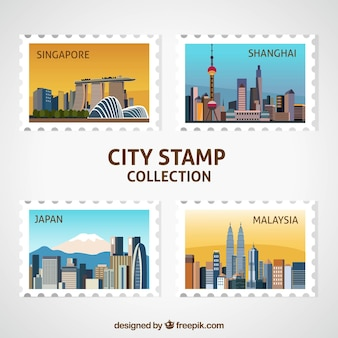 4つの装飾的な都市スタンプのパック