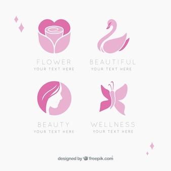 美容院の4つのロゴセット