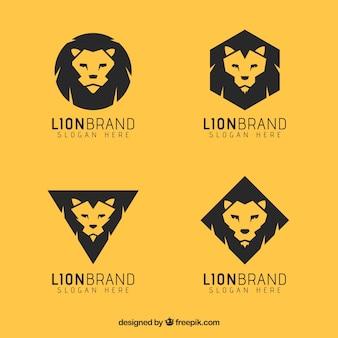 4つのライオンロゴ、黄色の背景