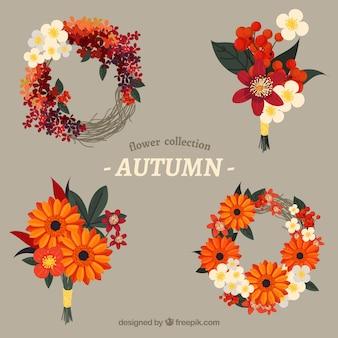 4つの秋の花輪のパック