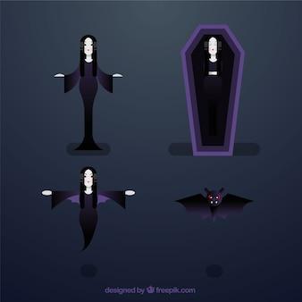フラットデザインの4人の吸血鬼キャラクターのパック