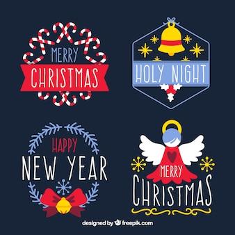 4つの装飾的なクリスマスバッジのセット