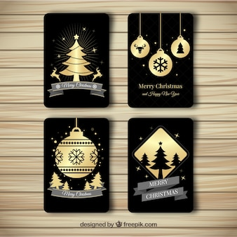 4つのエレガントなクリスマスカードのパック
