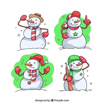 4人の雪だるまのコレクション