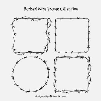 4つの有刺鉄線のフレームのコレクション