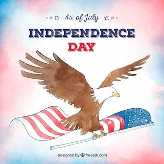 День независимости 4-го июля в акварельном стиле
