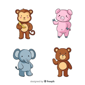 4つのかわいい漫画の動物デザイン