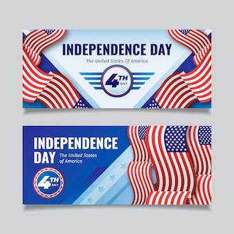 Плоский дизайн 4 июля - набор баннеров ко дню независимости