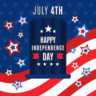 Плоский дизайн 4 июля - день независимости