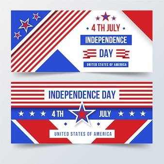 4 июля - баннеры дня независимости в плоском дизайне