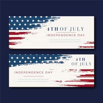 Винтажные 4 июля баннеры день независимости