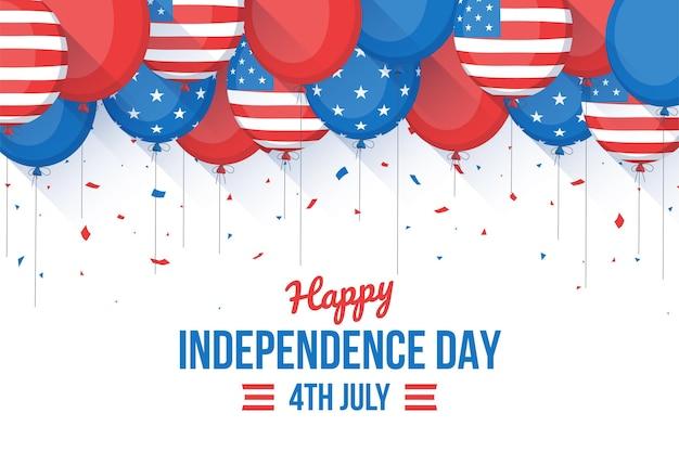 4 июля - воздушные шары на день независимости в плоском дизайне