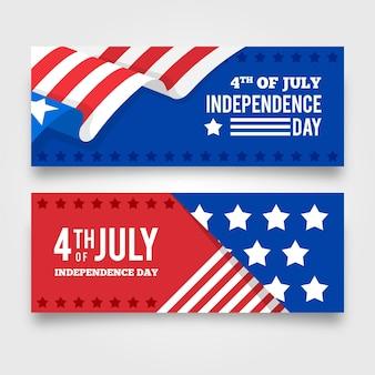 Плоский дизайн баннеров 4 июля