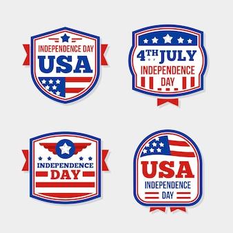 Пакет плоского дизайна 4 июля этикетки