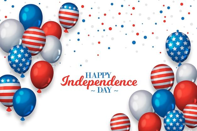 Реалистичная 4 июля национальный флаг на фоне воздушных шаров