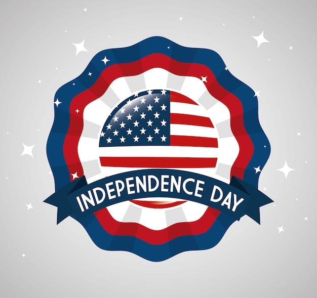 4 июля с днем независимости кружева эмблема