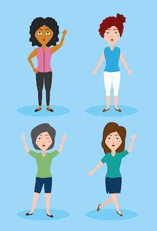 カジュアルな服装の4人の女性