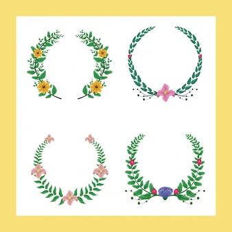Набор из 4 лавровых венков зеленого и фиолетового цветов с желтыми и розовыми цветами
