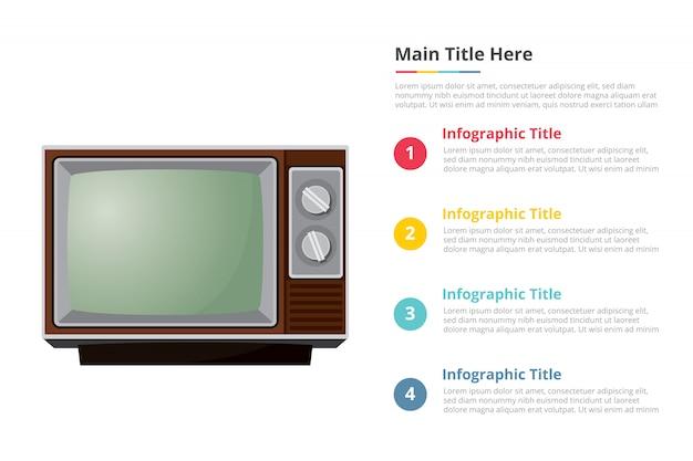 4つのポイントを持つヴィンテージテレビテレビインフォグラフィックテンプレート