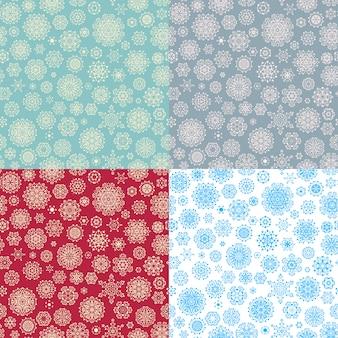 冬の4つのシームレスな雪片パターンのセット