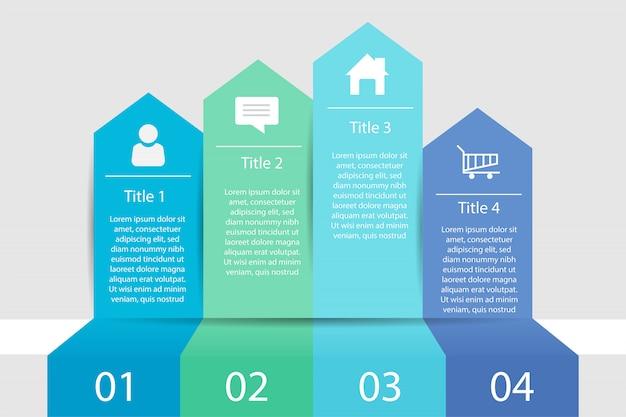 タイムラインのインフォグラフィック4ステップビジネス、インフォグラフィックデータ