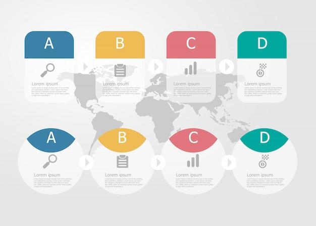 水平方向のタイムラインのインフォグラフィックイラストビジネスプレゼンテーションベクトルフラットバックグラウンドの4つのステップ